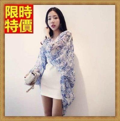和服 外套 和風 防曬衣-優雅青花瓷雪紡時尚罩衫小外套68af45[獨家進口][米蘭精品]