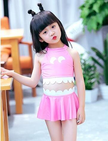 女童泳衣中大小童比基尼性感三件套兒童女孩分體公主裙式泳裝
