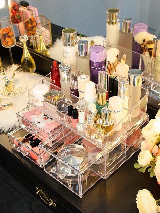 雙層化妝品收納盒特大號首飾創意亞克力桌面彩妝整理女生宿舍神器-青木居家