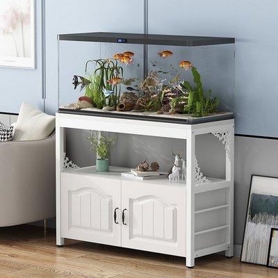 (台灣)魚缸底柜定制客廳小型魚缸柜子鐵藝魚缸底座多層鋼木魚缸架子實木