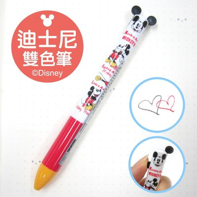 日本正版 日本製 迪士尼 米奇 MICKEY 雙色筆 黑/紅原子筆 紅色款~日本精品館~
