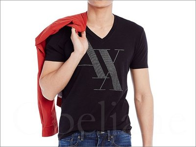 官網真品 Armani Exchange AX 阿曼尼 A|X 黑色 點字 V領 純棉短袖短T潮T恤  S M L 號