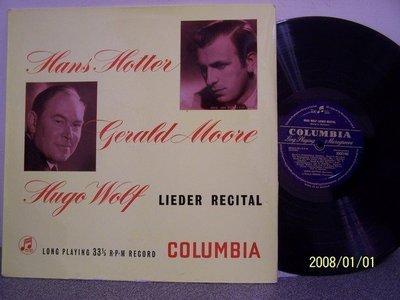 【Columbia LP名盤】2215.Hans Hotter演唱沃爾夫歌曲集(曲目詳照片),Moore鋼琴