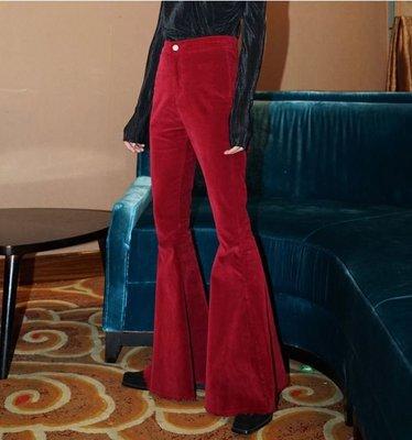 【黑店】歐美個性大喇叭褲 復古燈芯絨超顯瘦大喇叭褲 酒紅色顯瘦喇叭褲 長腿姊姊old school顯瘦喇叭褲 ZY136