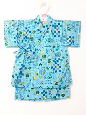 ✪胖達屋日貨✪ 褲款 90cm 水藍底 青蛙 箭矢 烏龜 日本製 男 寶寶 兒童 和服 浴衣 甚平 抓周 收涎 攝影