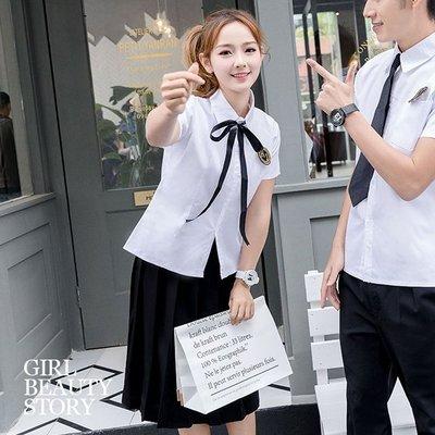 超哥小舖【E9012】學院翻領開襟短袖襯衫上衣+素色平口百褶及膝裙制服套裝組