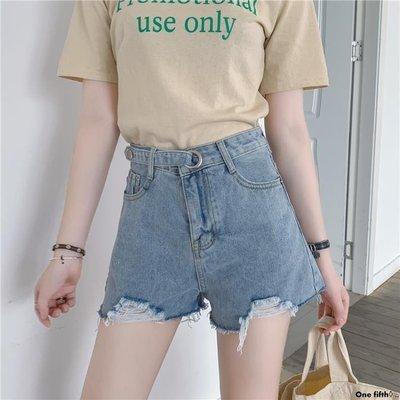 One fifth◊ .. [S-5XL]大碼牛仔短褲女新品高腰外穿寬鬆舒適闊腿A字熱褲QC230