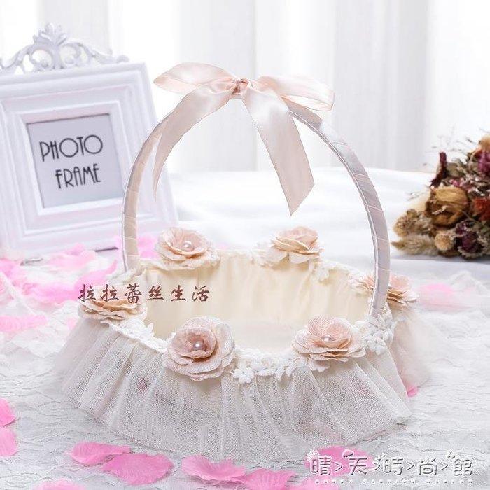 香檳色玫瑰之戀珍珠全包布舞蹈兒童花籃 婚禮舞會晚會裝飾WD