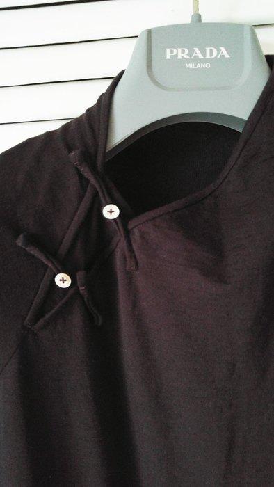 夏姿盤釦領五分袖深棕洋裝