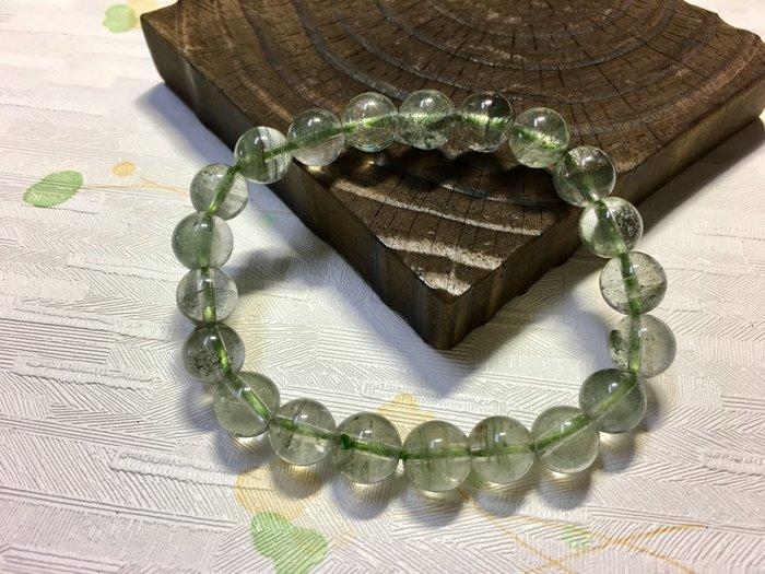 天然水晶早期料綠幽9mm圓珠手珠-20g