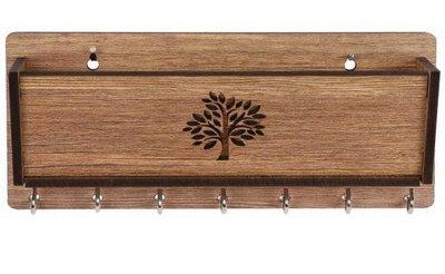 多鈎 木頭製 鑰匙收納盒雜物儲物盒 牆壁上鑰匙掛勾掛鉤掛鈎掛環 衣服帽子掛鉤禮品