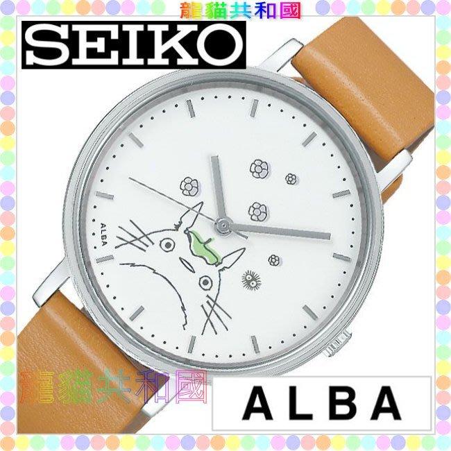 ※龍貓共和國※宮崎駿 吉卜力SEIKO《ALBA日本正版TOTORO龍貓 素描白 小牛皮手錶 鐘錶 圓錶》生日情人節禮物