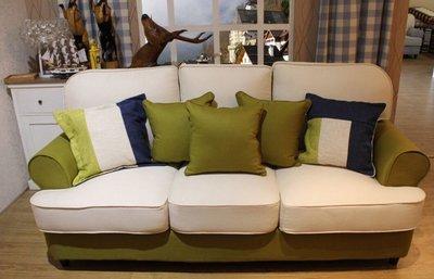 美式素色三人沙發