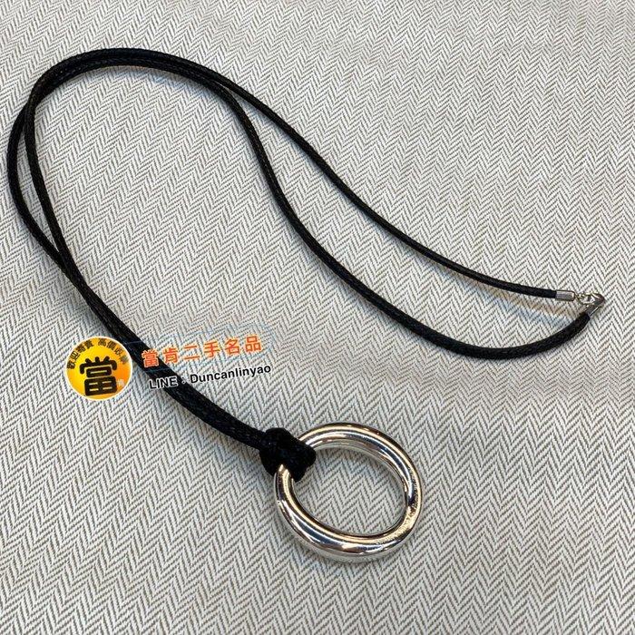 《當肯二手名品》TIFFANY 圓形 純銀 皮繩 項鍊 ㊣