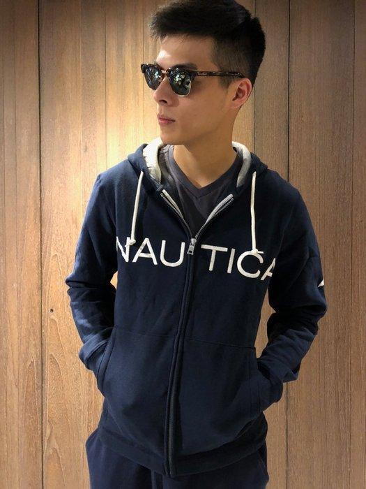 美國百分百【全新真品】Nautica 外套 帆船牌 連帽 夾克 棉質 經典 男裝 深藍 J059