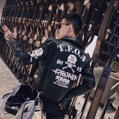 【時尚先生男裝】春秋裝皮衣服男韓版修身潮流網紅外套潮牌帥氣社會小伙機車皮夾克皮衣外套夾克騎士外套機車服 QXS348