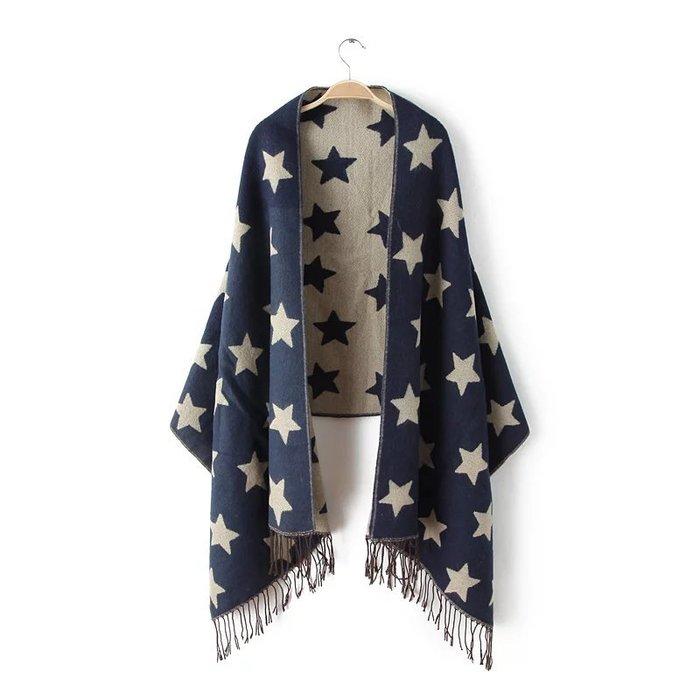 ♥ 小花日韓雜貨 ♥ -- 出口日本原單五角星星滿版印花流蘇早秋冬圍巾大披肩