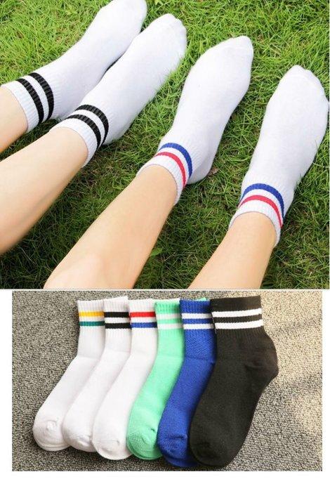 文青款熱銷復古雙條紋襪 百搭 雙槓襪 多色襪子 無印長襪 素色襪子 短襪 隱形襪 中筒襪 襪子【GO13】