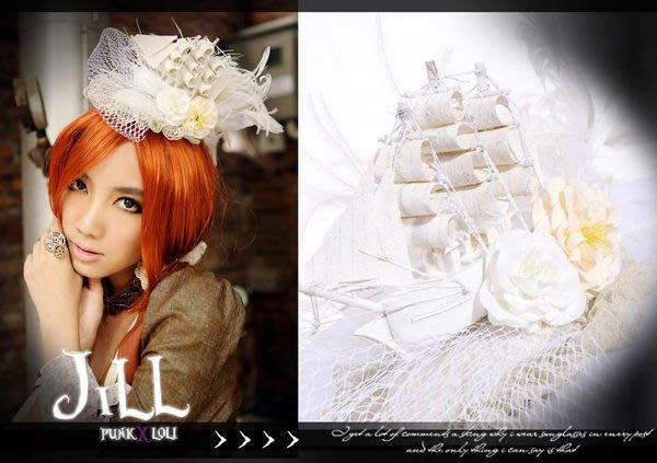 Oo吉兒oO哥德RQBL維多利亞風~蒸氣龐克黑珍珠幽靈船造型羽毛頭飾髮夾 Steampunk白【JR044W】