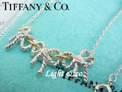 【Light & co.】專櫃真品 TIFFANY & CO 925純銀 750 K金 雙色 三 蝴蝶結 項鍊 18K