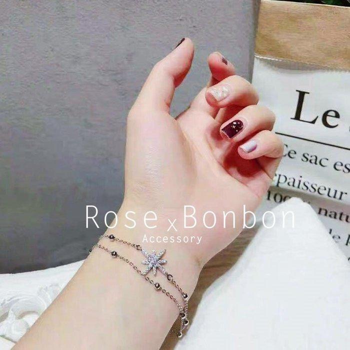 香港正生銀飾 星星滿鑽雪花 S925純銀手鍊  鑲鑽銀色手飾 手鐲 手環Rose Bonbon