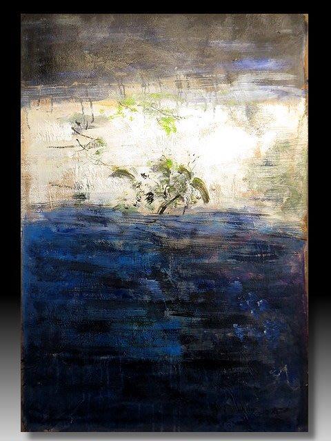 【 金王記拍寶網 】U1161  趙無極 款 抽象 手繪原作 油畫一張 罕見 稀少 藝術無價~