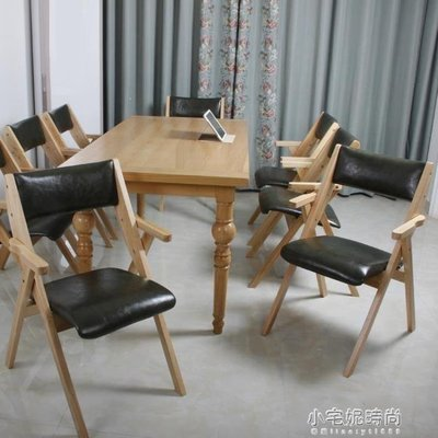 ZIHOPE 歐式實木折疊椅子家用餐椅靠背椅書房休閒餐廳民宿培訓會議椅拆洗ZI812