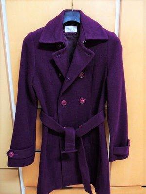 專櫃I.N.E 紫紅色漂亮綁帶長大衣 外套(la chamber d'ine)