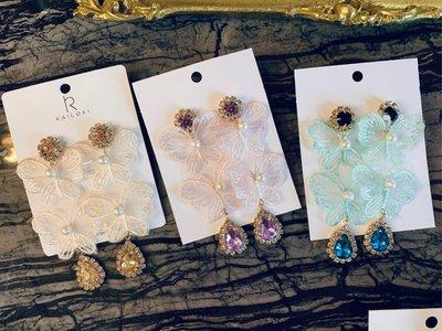 日韓時尚設計浪漫蕾絲寶石耳環