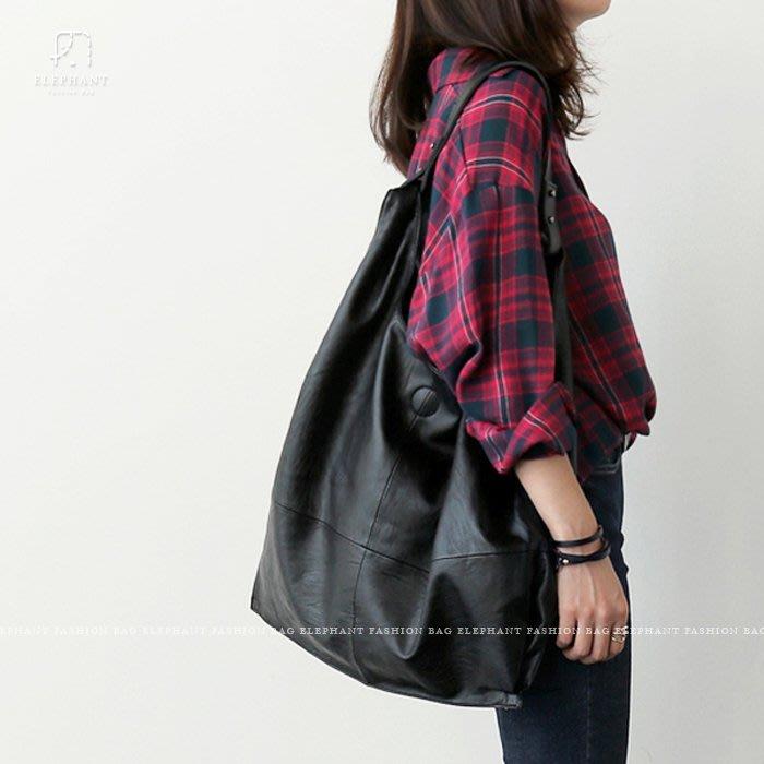 【艾樂芬】韓國訂製 歐美個性 大容量 拉鍊增大容量 超軟革 黑色 肩背包手提包 通勤包