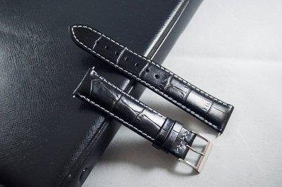 日本手工牛皮防水錶帶 黑色 20mm...