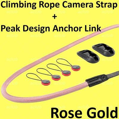 全新 快裝拆登山繩相機帶 Quick Release Connect Climbing Rope Camera Strap 玫瑰金色 Rose Gold
