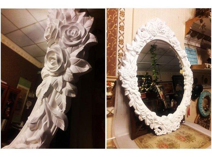居家藝術家飾 PU歐式立體浮雕鏡框-巴洛克 玫瑰 相框 鏡框 立鏡 掛鏡 -含鏡子 白色 @$4800