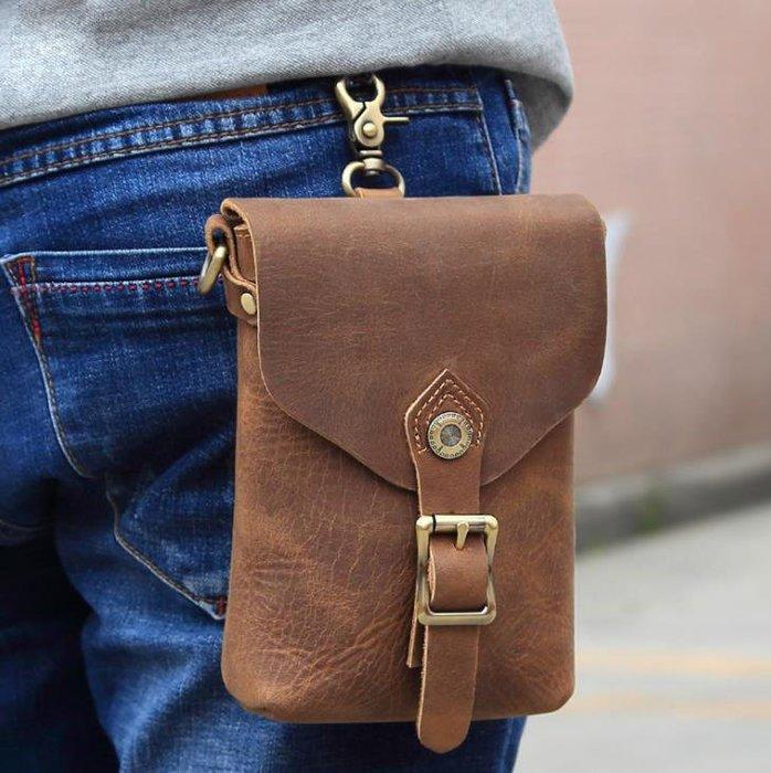 男士真皮單肩斜挎包 多動能手機包 頭層牛皮包 複古休閑腰包
