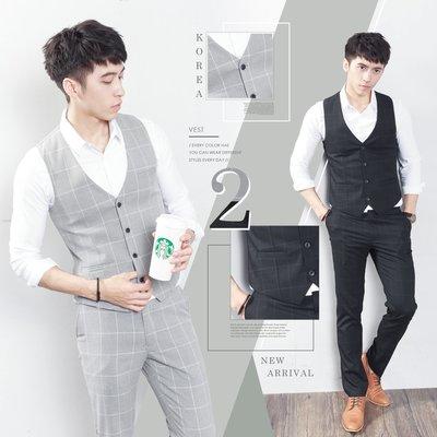 。SW。【K31169】正韓MR 韓國製 修身顯瘦 質感 彈性西裝布 窄版 雅痞紳士 格子三件式 成套西裝  英倫GD