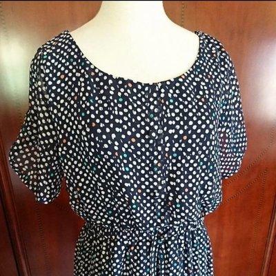 ~~櫻花雨~~日本品牌 全新 A.V.V STANDARD 藍底 紗質洋裝 38號 699出清