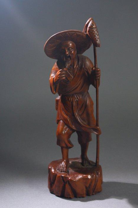 悅年堂 --- 黃楊木 雕 漁翁 擺件