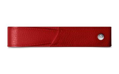 CARAN d'ACHE 瑞士卡達 紅色小牛皮單支筆套