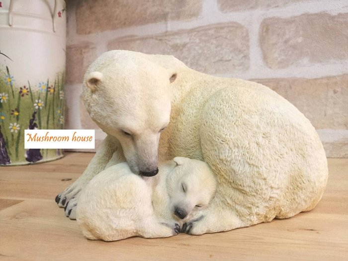 點點蘑菇屋 歐洲精品野生動物北極熊媽媽守護小熊寶寶睡覺擺飾 可愛家飾 禮品 精緻飾品 鄉村風 動物園 現貨 免運費