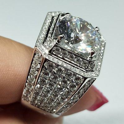 鑽戒霸氣滿天星 925純銀鍍鉑金指環 鑲嵌高碳鑽2克拉男士戒指 精工超寬版滿鑽戒高碳仿真鑽石 莫桑石莫桑鑽寶