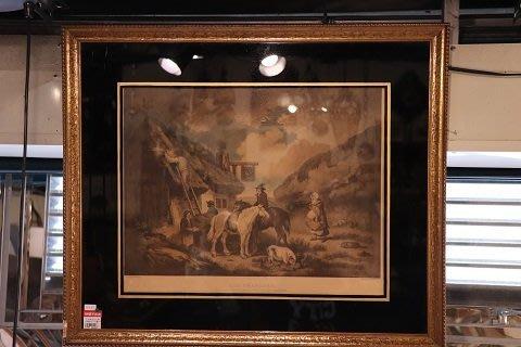 【卡卡頌 OMG歐洲跳蚤市場 / 西洋古董 】歐洲古董百年老銅板印刷藝術掛畫 pa0052