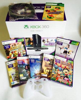 XBOX 360 4G E版主機kinect體感器~無線手把 正版9大熱門遊戲+HDMI線及果凍套