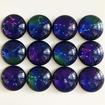 優享家旗艦店-十二星座創意水晶玻璃冰箱貼一套12枚 磁貼磁力貼DIY照片定制禮品