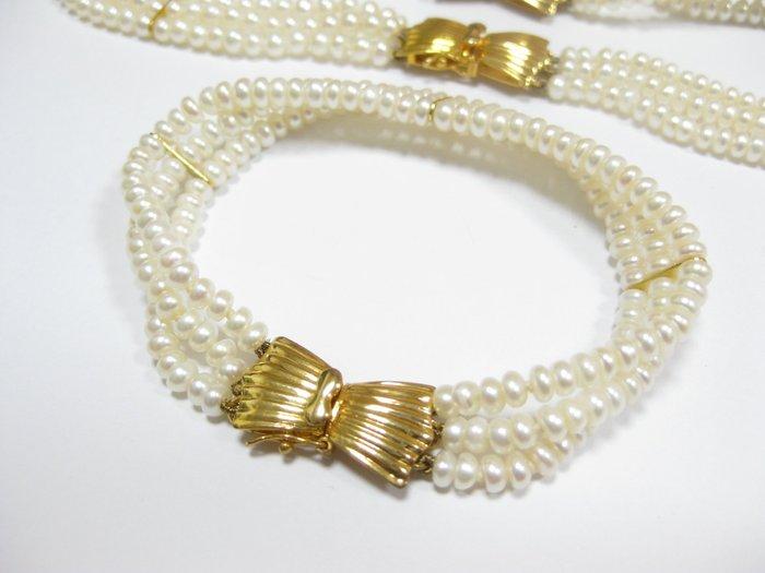 全天然日本珍珠公主項鏈 手鍊 套組 粉色皮光 36&18CM【Texture & Nobleness 低調與奢華】