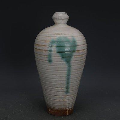 ㊣姥姥的寶藏㊣ 唐代邢窯白釉點彩手工瓷線條紋梅瓶  出土古瓷器古玩古董收藏