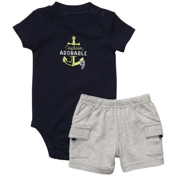 【Nicholes歐美進口優質童裝】Carters 男童深藍色短袖包屁衣+短褲二件組*另有Old Navy/OshKosh