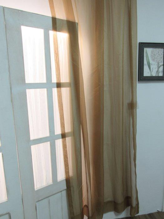 [W060]窗簾 窗紗 No.4素色透紗卡其色  特價出清  無接縫紗 簡約 北歐