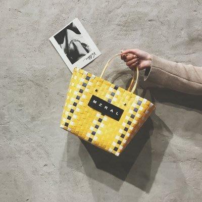 包包女2019夏季新款菜籃子包ins網紅同款編織手提包沙灘包托特包