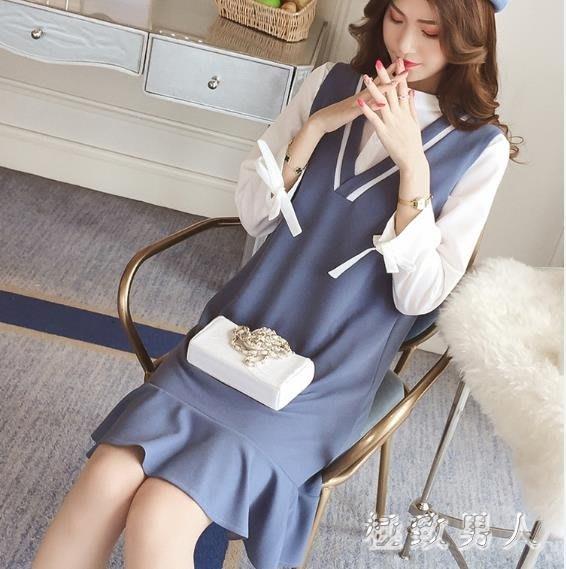 两件式洋装  學院風襯衣配馬甲洋裝兩件套女秋裝新款韓版小清新閨蜜套裝 LN4419