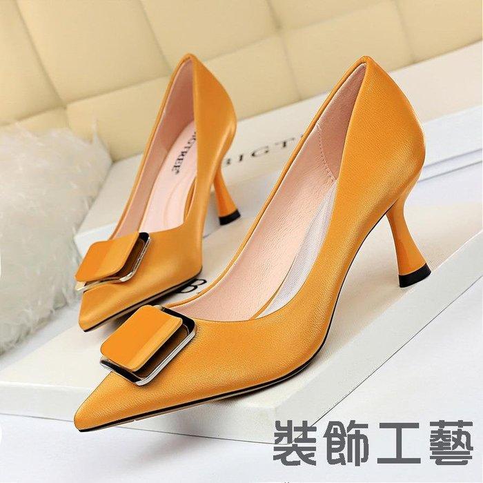 1266-7高跟酒杯跟淺口尖頭金屬皮帶扣職業OL高跟鞋女單鞋